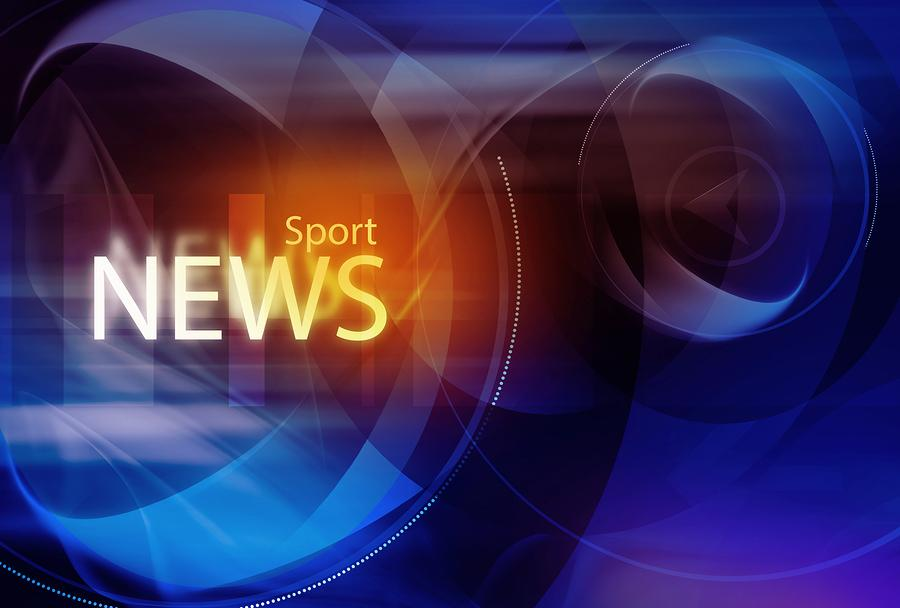 Graphical digital sport news background with news text.