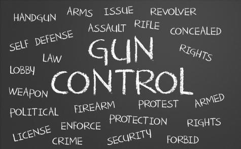 Gun Control word cloud written on a chalkboard