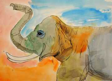 """Alvin Zhao, Honorable Mention in Painting """"The Elephant"""""""