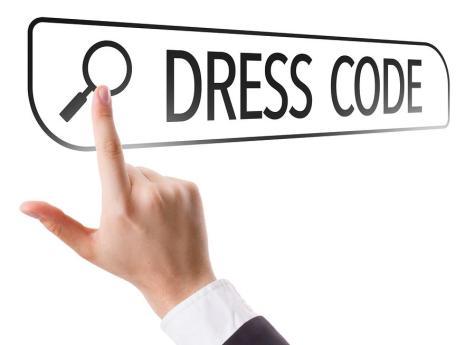Dress Code written in search bar on virtual screen