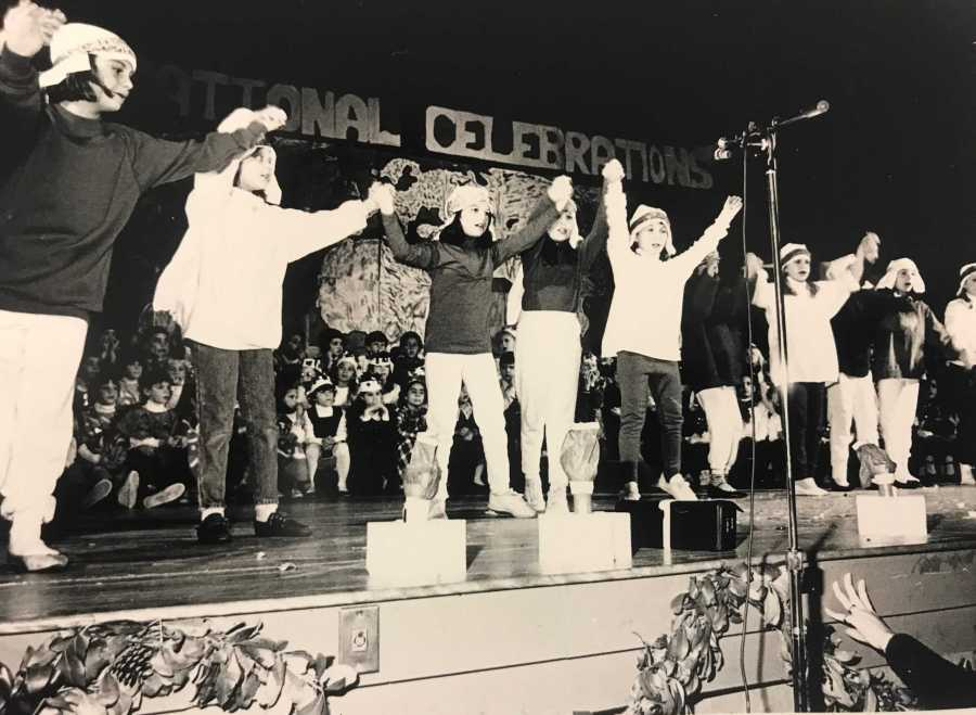 In 1992, the lower school performed on the old gym stage.  Photo courtesy of Brimmer and May.