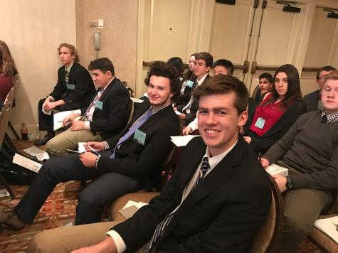 Lead Delegates for Model United Nations, Grant Iuliano '18 and Jack Donnelly '18, represent Laos and Uganda, respectively, at last year's conference. Photo by David Cutler '02.