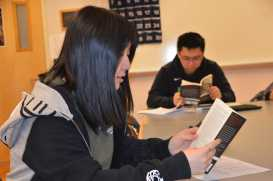Yvonne Xi '19 discusses the purpose of the Mexican Revolution. Photo by David Cutler.