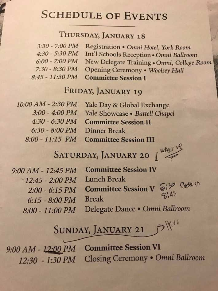 The busy schedule for Model UN delegates. Photo by Davi Cutler '02.