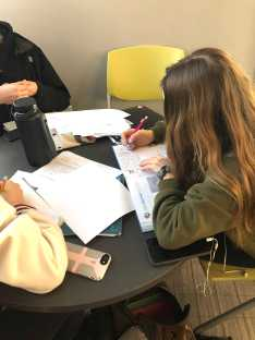 Kaitlyn Anderson '20 uses the study room to do work.