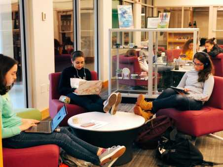 Students working outside of the learning commons