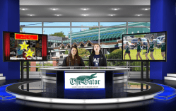 Angelina Nur Dervisevic '21 and Hannah Ahearn '20 on Gator Nation News, which makes use of a virtual studio.