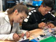 Naila Silmi '19 and Henry Ngo '19 working with LED lights. Photo By Sita Alomran '19.