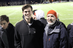Technology Director Michael Langlois poses with former advisee Grant Iuliano '18. Photo by David Cutler.
