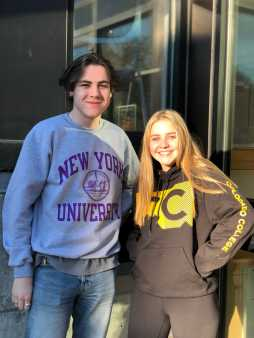Senior Sam Eigerman '19 and Emma Hastings '19 showing off their ED college acceptance. Photo By Sita Alomran '19.
