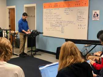 Song writing elective writing their first piece. Photo By Sita Alomran '19.