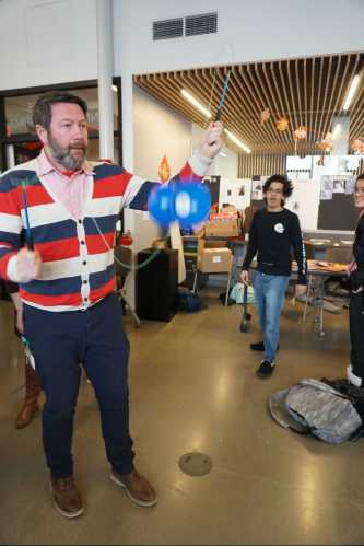 Science Teacher Chris Hardman impressing with Diablo. Photo by David Cutler.