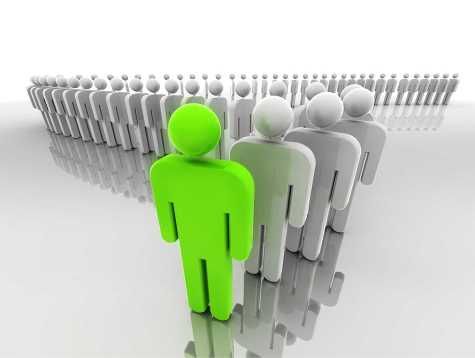 Concept of leadership represented by a line of people in 3d with the leader at front.