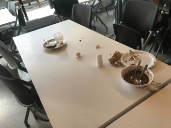 Students leave a mess for others to clean up. Photo by David Cutler.