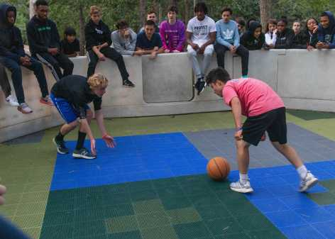 Brian Gamble '23 and Brian Barrera '22 compete in an intense game of Gaga Ball.