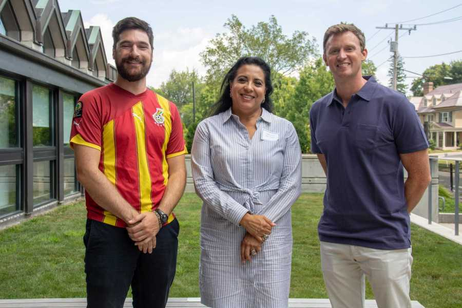 (L-R) Middle School Math and Science teacher Jared Smith, Middle and Upper School Spanish teacher Claudia Romero, Middle and Upper School History teacher Parker Curtis pose for a photo during their first faculty work day in August. Photo by Nicole DeCesare.