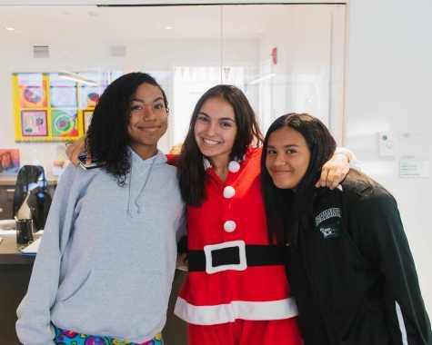 Kaylee Little '23, Angeline Nur Dervisevic '21 and Emma Guevara '23 enjoy Pajama Day, the first day of Spirit Week.