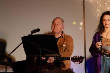 Creative Arts Department Chair Bill Jacob plays guitar.