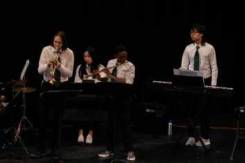 "Members of the Upper School Ensemble performed ""Mahna de Carnaval"" from the movie Black Orpheus"