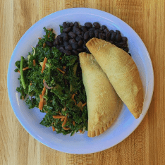 Corn and Roasted Poblano Pepper Empanadas, Black Beans and Kale Salad. Photo courtesy of the @brimmer_eats Instagram.