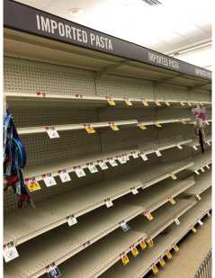 The pasta aisle out of stock at Stop and Shop. Photo by Caroline Champa '20