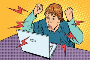 illustration of student confused and frustrated with online learning. Image purchased from BigStock.com.