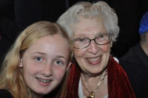 Hamilton at her cousin's bat mitzvah with her great-grandmother in 2014.