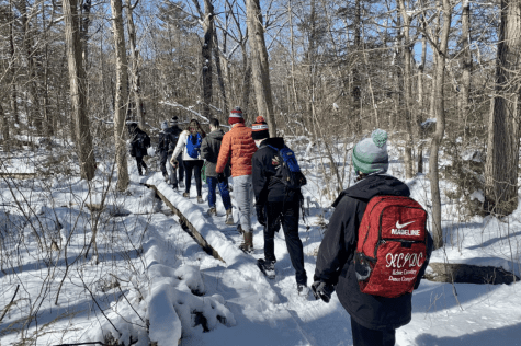 A dozen student hiked Lynn Woods Reservation hiked Lynn Woods Reservation Sunday.