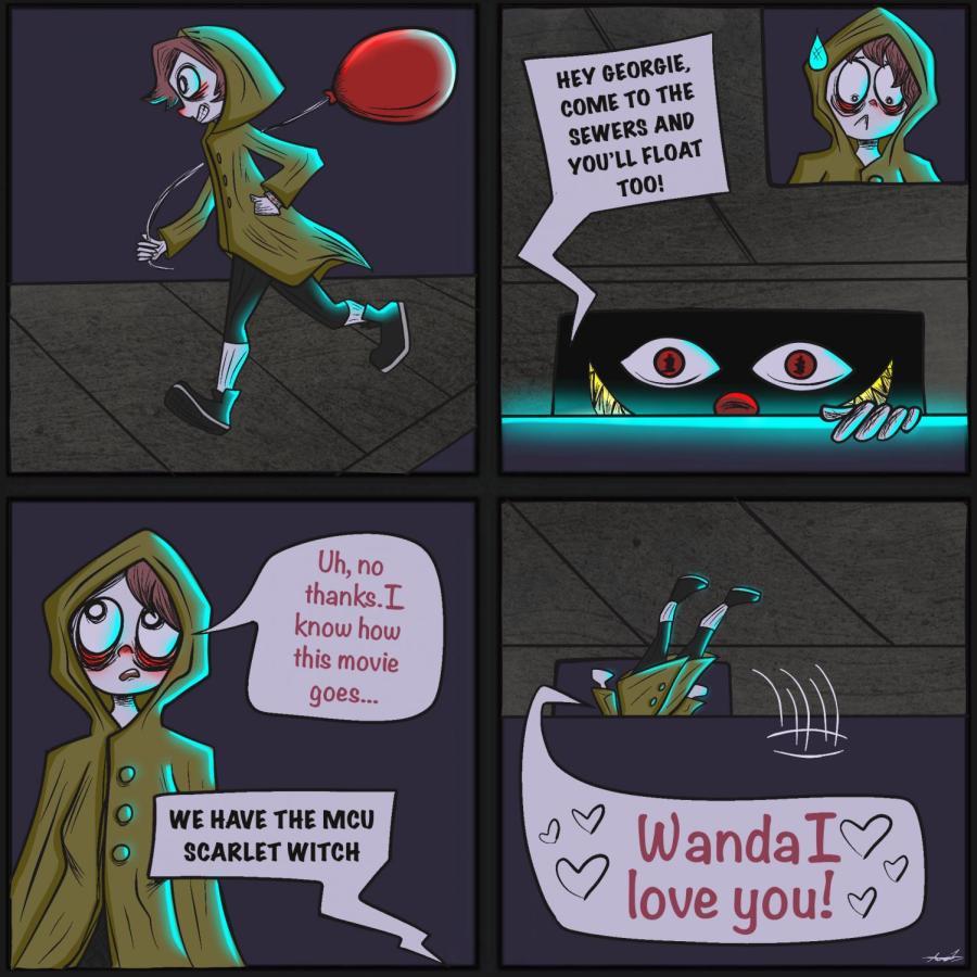 Scarlet Witch cartoon by Ava Lockhart '21.