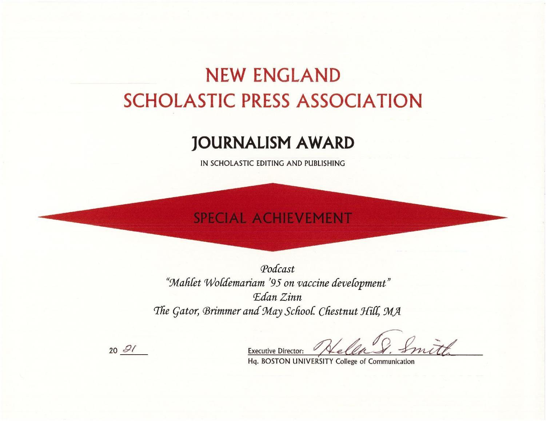 Gator+Wins+All-New+England+Journalism+Award