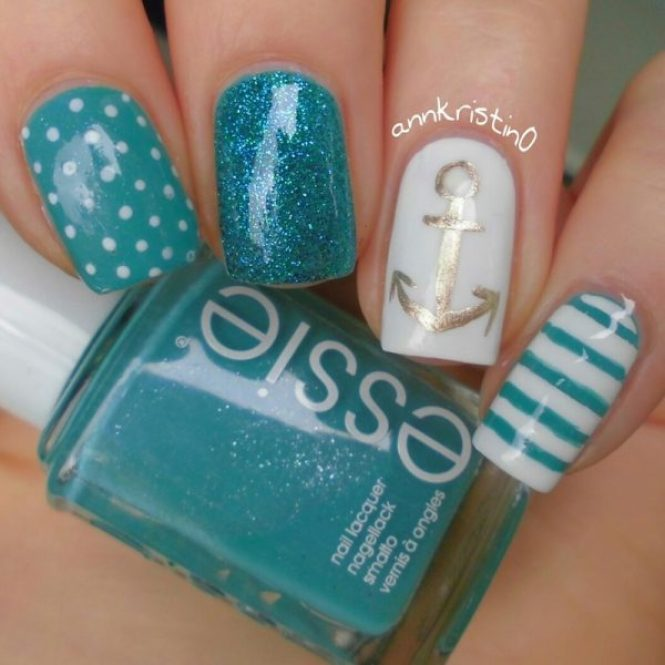 Pink Nautical Nails Cute Nail Designs Perfect For Every Stylish Lady