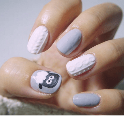 Cute Pastel Blue And White Sweater Nails Bmodish