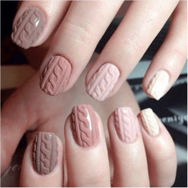 Soft Brown And Cream Sweater Nails Bmodish