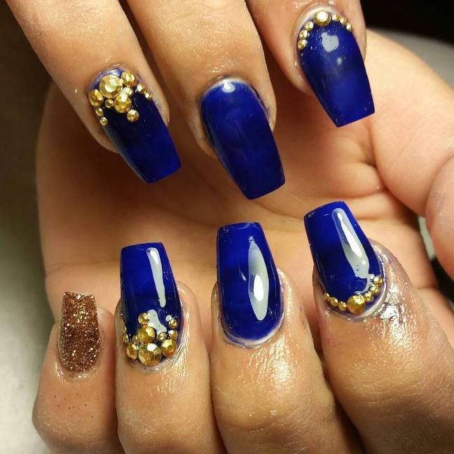 Royal Blue And Gold Nail Art Bmodish