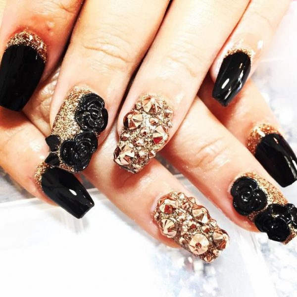 Black Gold Nails 3d Nail Art Bmodish