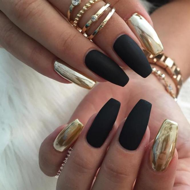 Black White And Gold Stripes Fl Nail Art Design Bine Polish With