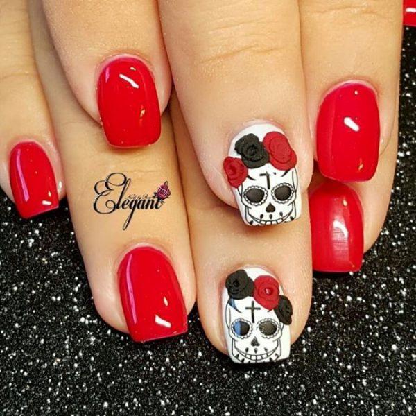 red sugar skull nails bmodish