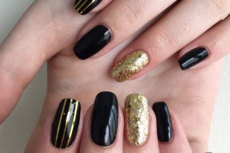 Black Matte Nails With Gold Stripes Archidev