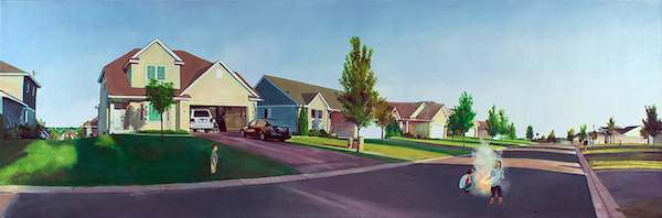 """Nate Burbeck. """"Lakeville, Minnesota"""" 2011. Oil on Canvas. 24"""" x 72"""". Copyright Nate Burbeck. Courtesy of Anna Zorina Gallery, New York City."""