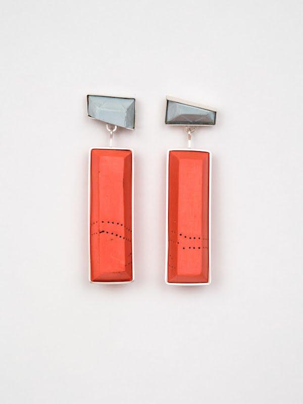 E6 McMahon, Shelly orange & gray earrings