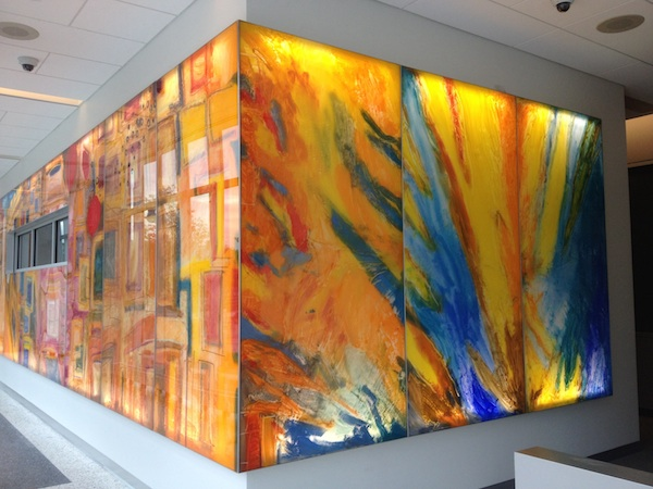 """""""In the Cut"""" Oil, acrylic, aluminum and LED lights, 8' x 76', 2014 Maryland Department of Public Health"""