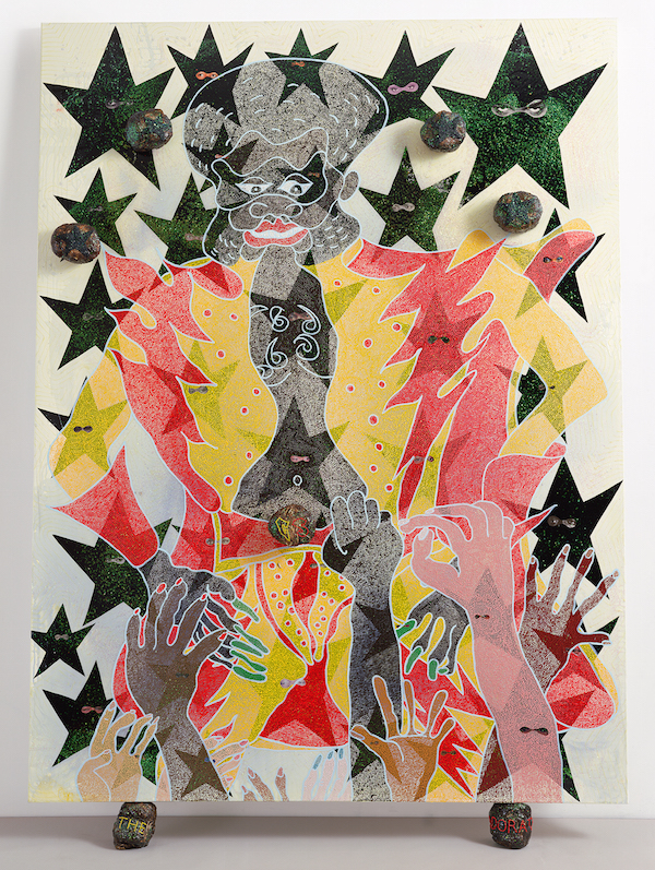 Chris Ofili, The Adoration of Captain Shit and the Legend of the Black Stars (ThirdVersion), 1998. Oil, acrylic, polyester resin, paper collage, glitter, map pins, and elephant dung on linen, 96 x 72 in (243.8 x 182.8 cm). © Chris Ofili. Courtesy the artist, David Zwirner, New York / London and Victoria Miro, London