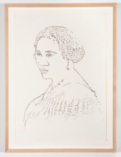 Portrait of Madam C.J. Walker made with the artist's hair