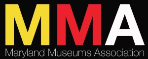 A yellow, red, and white text logo for the Maryland Museums Association.