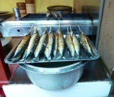 Fish waiting to be cooked at Beijing snack bar