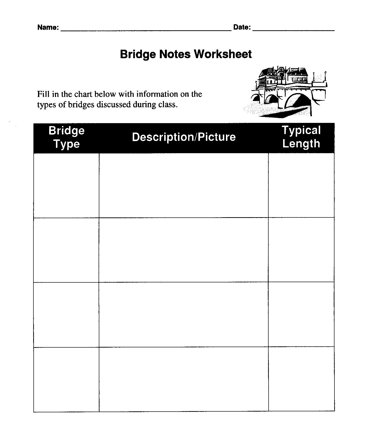 Middle School Bridge Worksheet Middle Best Free Printable Worksheets