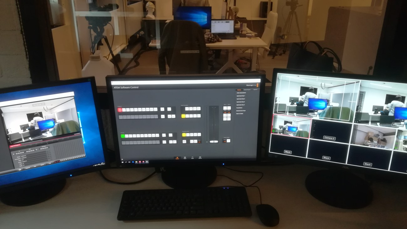 A view of the EEG lab from the recording room