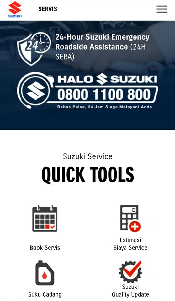 Website Suzuki.co.id Menu Services