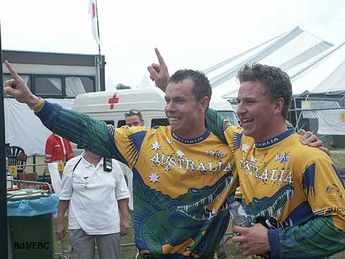 Mike and Warrwick on top of the world at the 2004 World BMX Championships