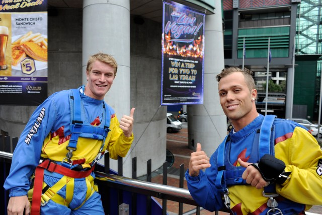 American BMX stars Connor Fields (left) and Barry Nobles after completing the 192m SkyJump in Auckland today as they prepare for next week's UCI BMX World Championships.